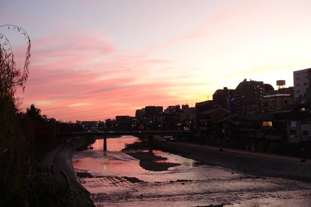 sanjo bridge sunset