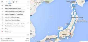 Japan trip map