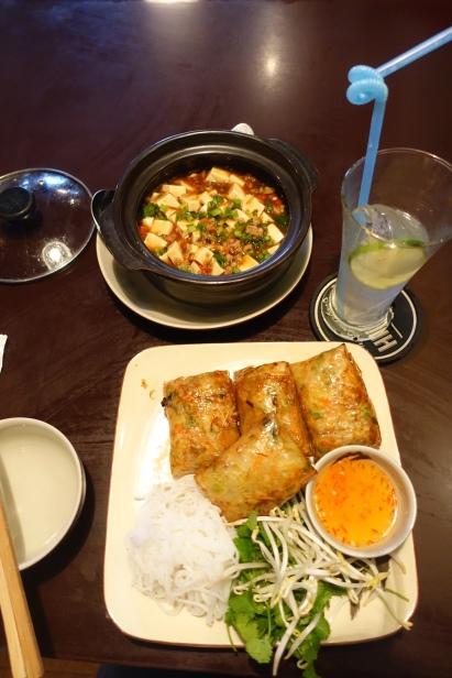 spring rolls & tofu w/pork & szechuan
