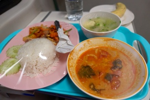 soup, duck curry, chicken vege stir fry, rice - on train