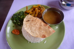 dal bhat - spinach picked from garden