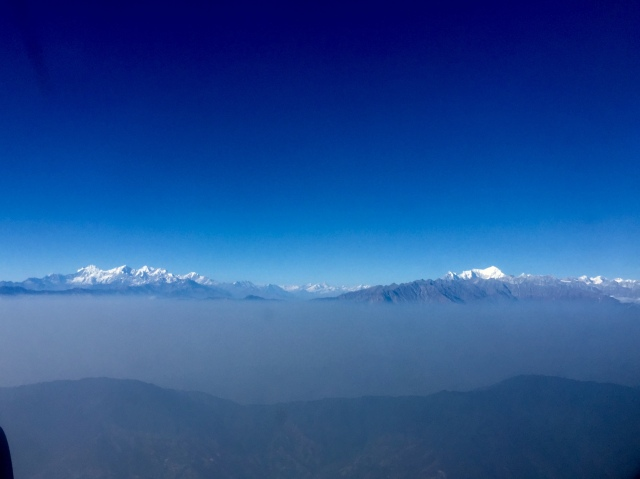 from plane window, flying out of kathmandu