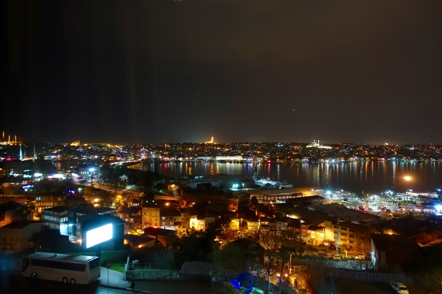 view of golden horn from room @ night