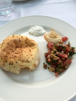 meze - bread, yogurt, hummus, salad