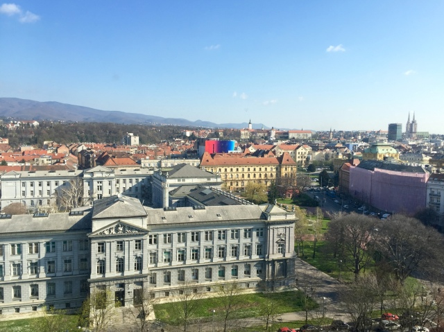 view of Zagreb from my hotel room - mimara museum in foreground, cathedral in distance
