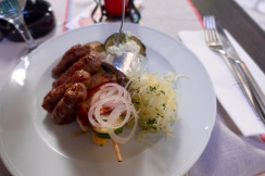 bosnian restaurant in croatia… ummm best sausage i've ever had. veal.