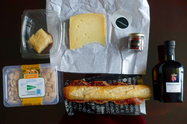 manchego + saffron + evoo + marcona almonds + jamon iberico de bellota sandwich = 😃!!! … and baklava that was eww.