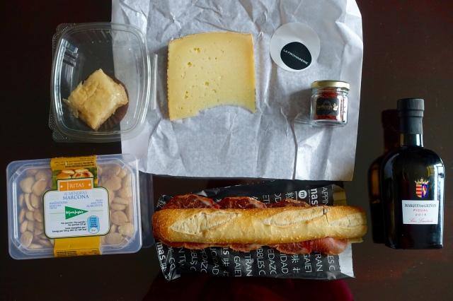 manchego + saffron + evoo + marcona almonds + jamon iberico de bellota sandwich = 😃!!! … and baklava that was eww.