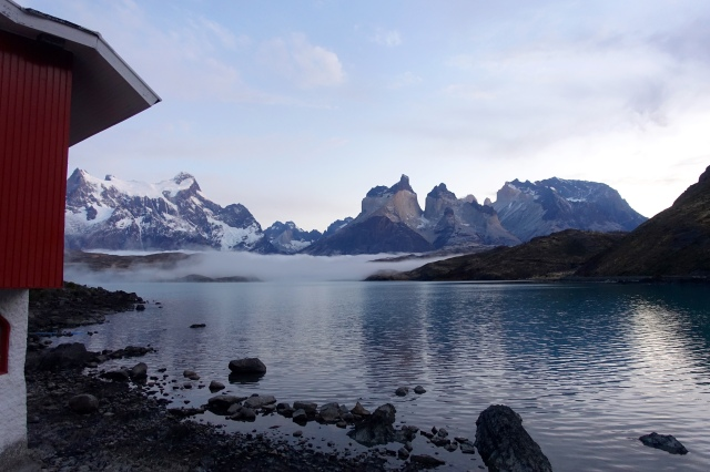 cuernos del paine + torres del paine mountains: view from hotel